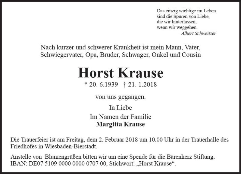 Horst Krause Gestorben