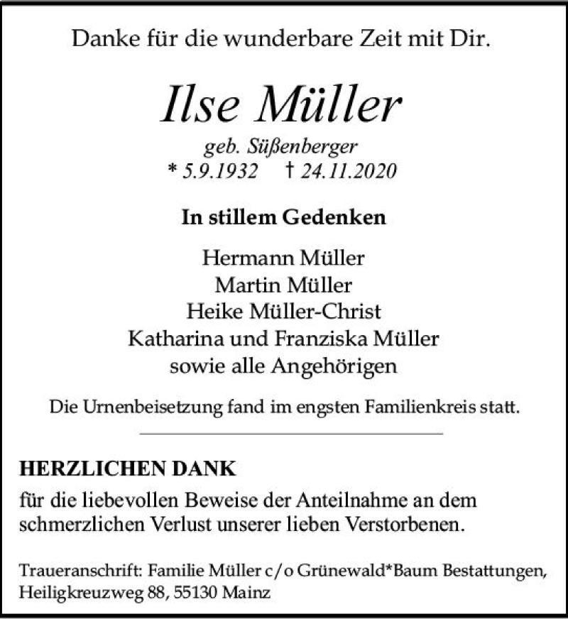Traueranzeigen Von Ilse Muller Www Vrm Trauer De